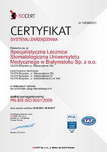 Certyfikat Specjalistyczna Lecznica UMB